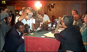 AFROMET press conference announcing the return of Emperor Tewodros's amulet 2002